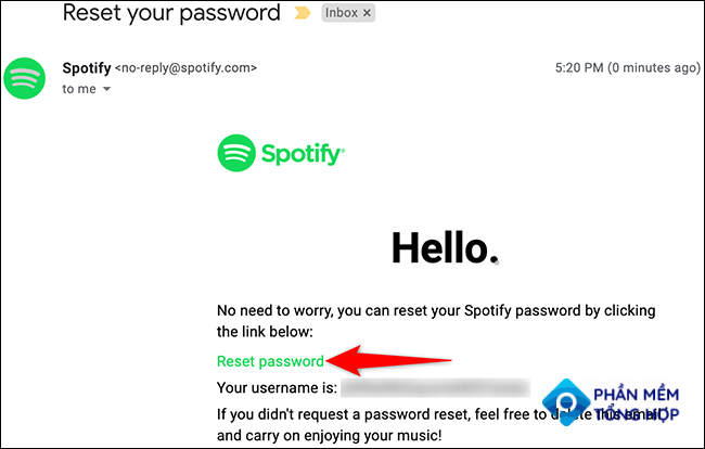 """Click """"Reset Password"""" in the email from Spotify."""