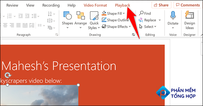 """Click """"Playback"""" at the top of PowerPoint."""
