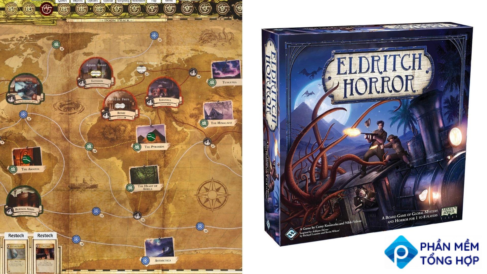 The board and game box for 'Eldritch Horror'