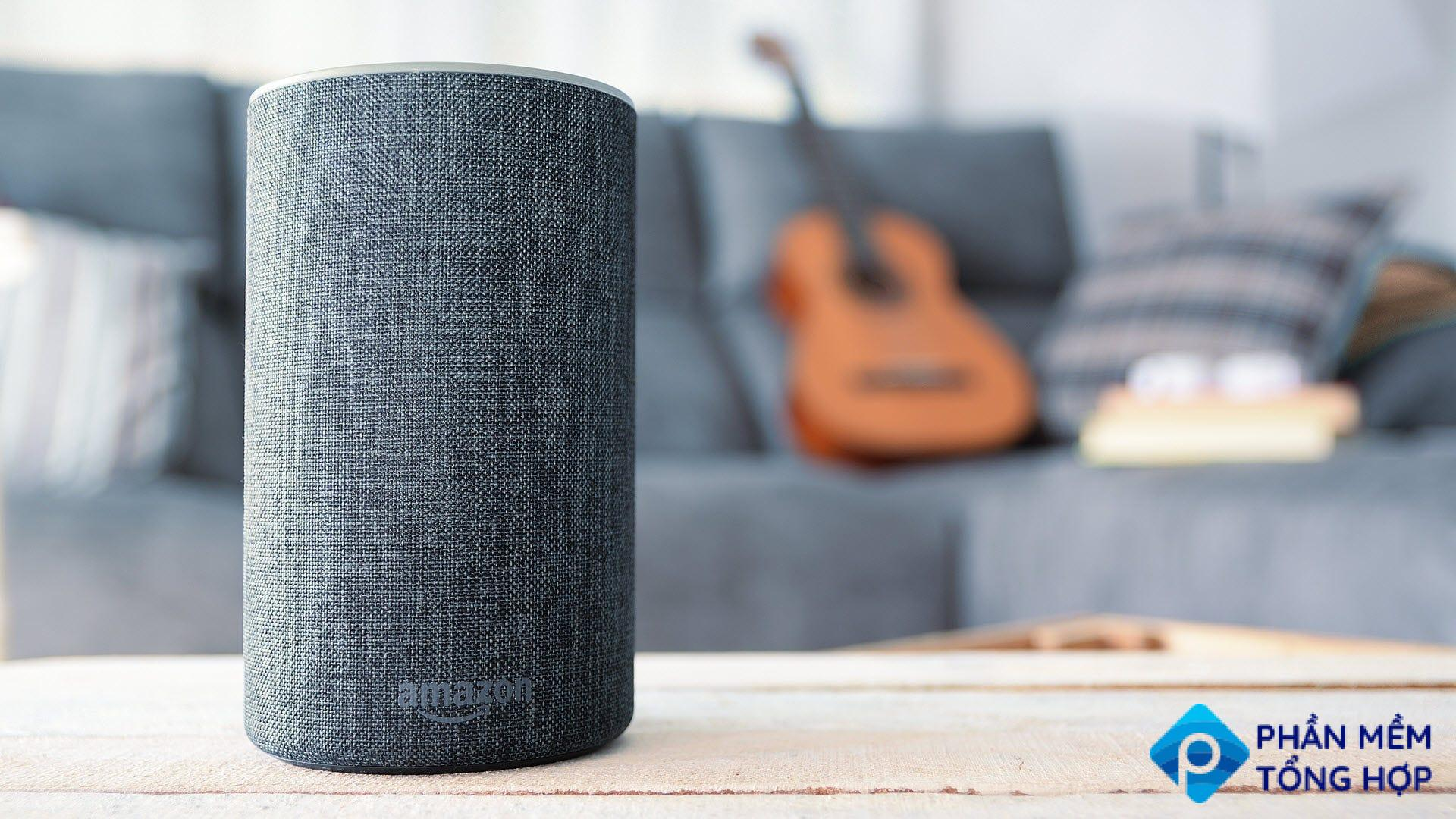 An Amazon Echo on a living room coffee table.