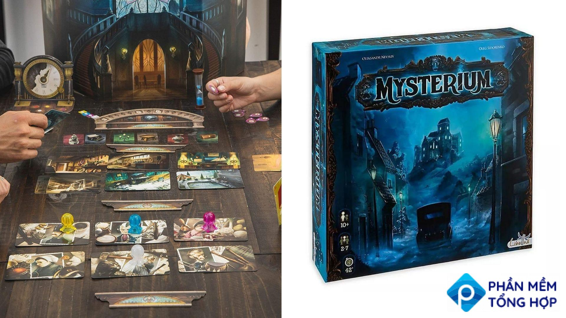 The 'Mysterium' gameboard, pieces, and box.