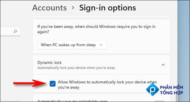 """In Settings, check the box beside """"Allow Windows to automatically lock your device when you're away."""""""
