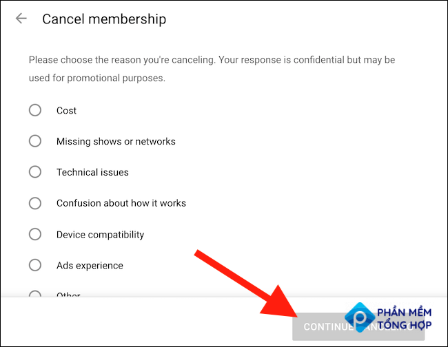 """Choose an option for canceling and then click the """"Continue Canceling"""" button"""