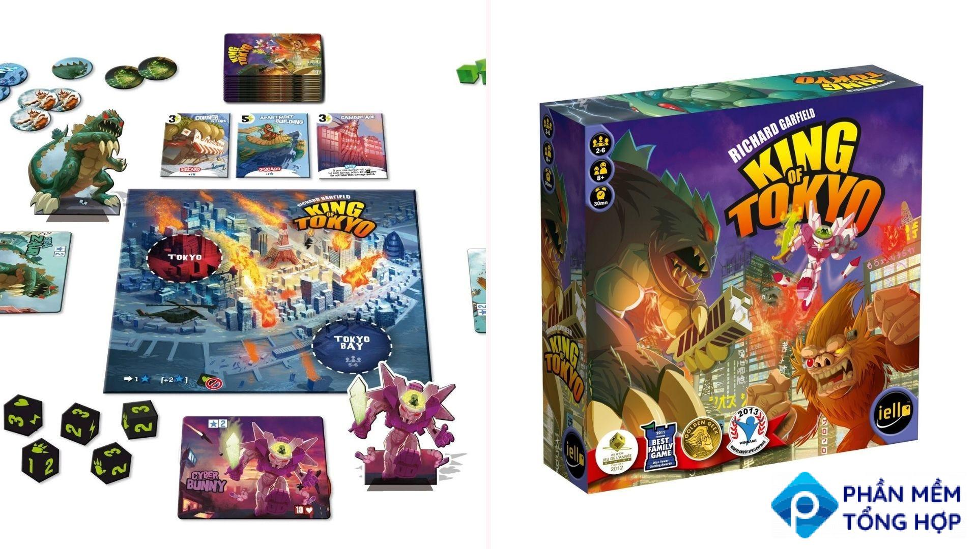The King of Tokyo boardgame pieces and the box.