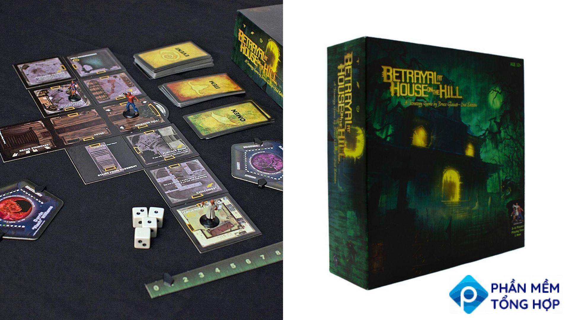 The gameboard and box for 'Betrayal at House on the Hill'