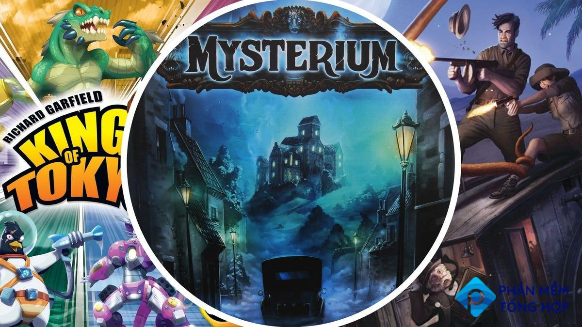 The covers of King of Tokyo, Mysterium, and Eldrith Horror.
