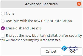 ZFS options in the Advanced Features dialog