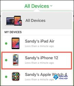 Select the device in Find My on iCloud