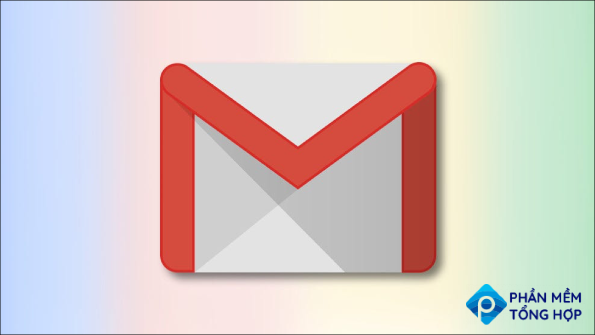 Gmail logo on a multicolor gradient background