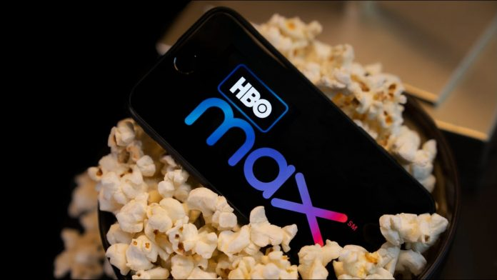 HBO Max logo on a smartphone sitting in popcorn