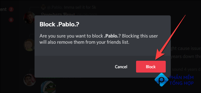 """Select """"Block"""" button to confirm blocking."""