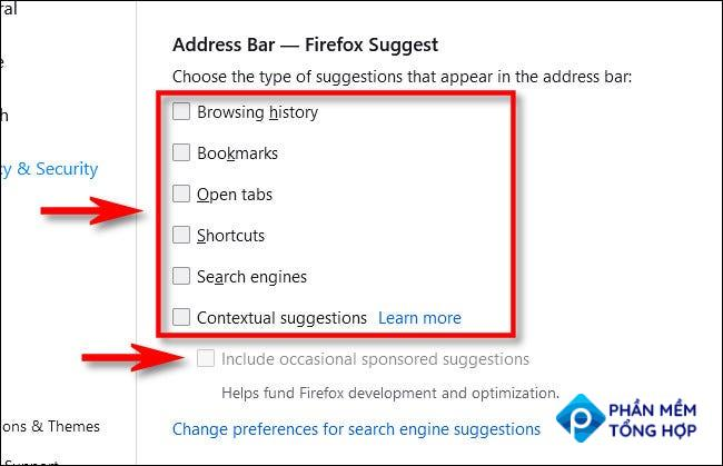"""Under """"Address Bar,"""" uncheck all the suggestion features."""