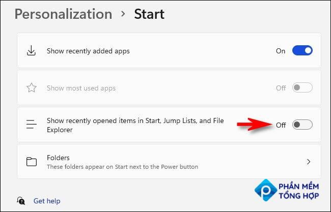 """In Start settings, set the switch beside """"Show recently opened items in Start, Jump lists, and File Explorer"""" to """"Off."""""""