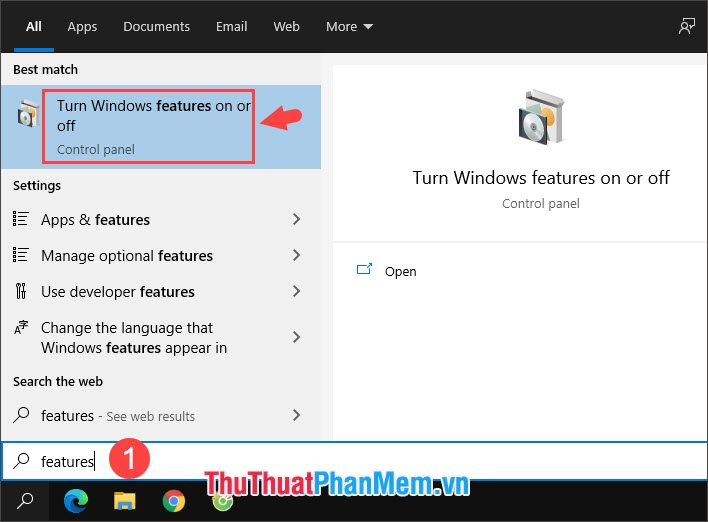 Chọn Turn Windows features on or off