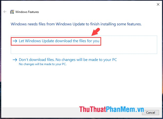 Chọn Let Windows Update download the files for you